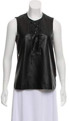Tess Giberson Leather-Paneled Lace-Up Top
