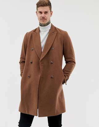 Asos Design DESIGN wool mix double breasted overcoat in dark camel