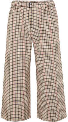 Maje Cropped Houndstooth Tweed Wide-leg Pants