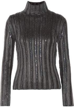Nina Ricci Cutout Sequin-Trimmed Ribbed Wool-Blend Turtleneck Sweater