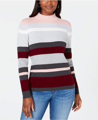 Karen Scott Petite Cotton Striped Ribbed Sweater