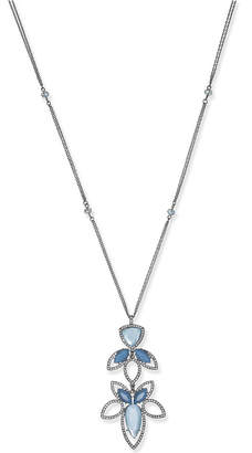 INC International Concepts I.n.c. Hematite-Tone Pave & Blue Stone Beaded Pendant Necklace, Created for Macy's