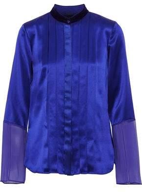 Elie Tahari Izarra Chiffon-Paneled Pintucked Silk-Satin Blouse