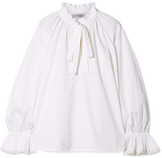 Lee Mathews - Miller Pussy-bow Ruffled Cotton-poplin Top - Ivory