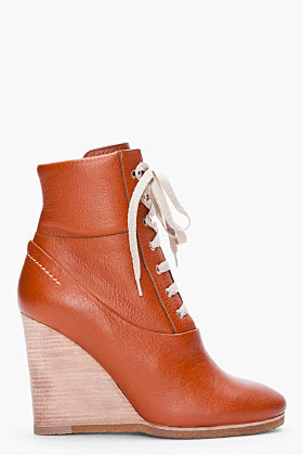 CHLOE Tan Lace-Up Wedge Booties