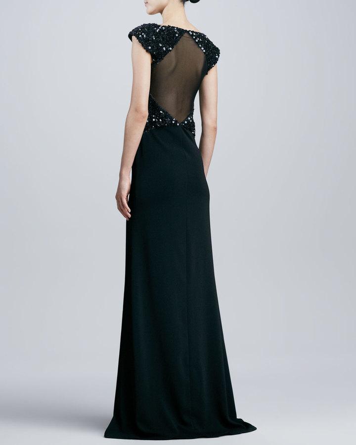 Badgley Mischka Beaded V-Neck Cap-Sleeve Gown