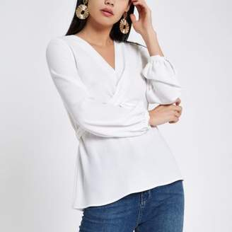 River Island White cross front tie back blouse