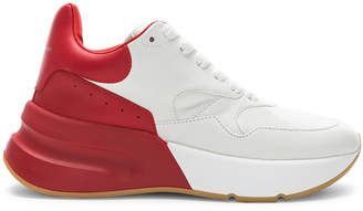 Alexander McQueen Two Tone Platform Sneakers in Optic White & Lust Red | FWRD