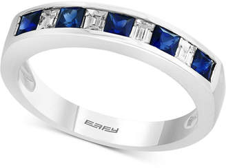 Effy Gemstone Bridal by Sapphire (5/8 ct. t.w.) & Diamond (1/4 ct. t.w.) Band in 18k White Gold