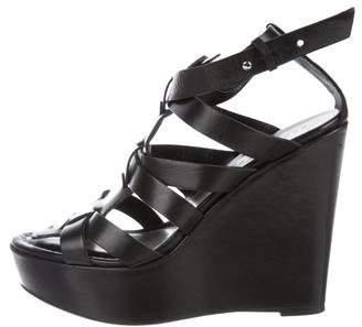 Barbara Bui Leather Wedge Sandals