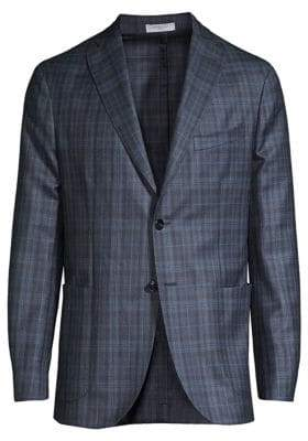 Boglioli Men's Plaid Virgin Wool& Silk Jacket - Navy - Size 46 (36) R