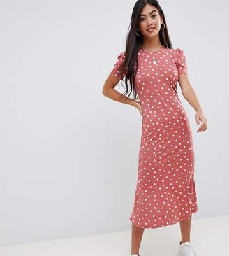 Asos DESIGN Petite city maxi tea dress in polka dot