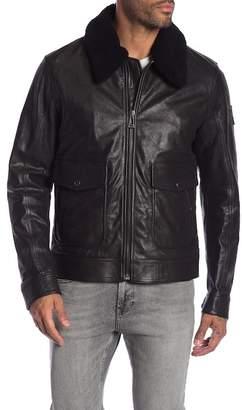 Belstaff Mentmore Blouson Shearling Trimmed Leather Coat