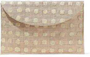 Kayu Embroidered Woven Straw Envelope Clutch