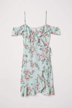 H&M Open-shoulder Dress - Light turquoise/floral - Women