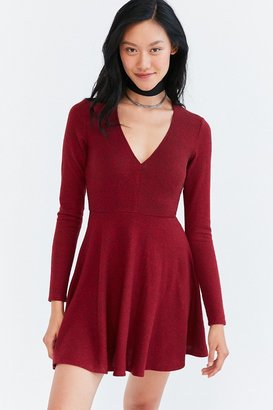 Kimchi Blue Cozy Plunging Fit + Flare Mini Dress $59 thestylecure.com