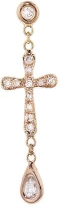 Jacquie Aiche Diamond Long Cross Single Stud Earring