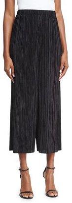 Alice + Olivia Elba Plisse Pull-On Cropped Wide-Leg Pants, Black $195 thestylecure.com