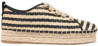 Sam Edelman Celina Striped Raffia Espadrille Platform Sneakers - Beige