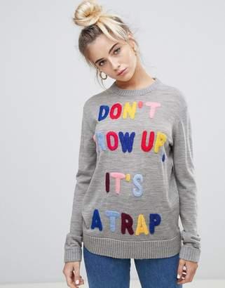 Love Moschino Don't Grow Up Virgin Wool Sweater