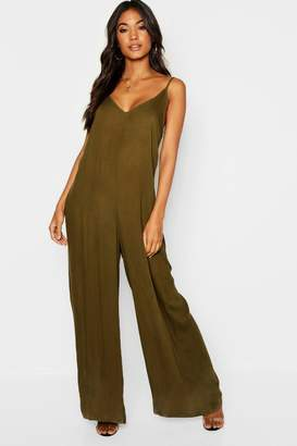 boohoo Strappy Wide Leg Strap Back Jumpsuit