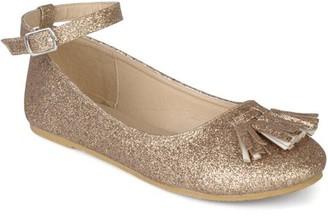 Co Brinley Kids Brinley Toddler Girls' Faux Leather Tassel Glitter Ankle Strap Dress Shoes