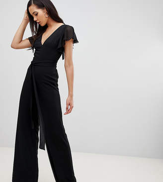 Asos Tall DESIGN Tall flutter sleeve jumpsuit