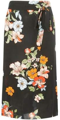 Dorothy Perkins Womens Black Floral Print Midi Skirt
