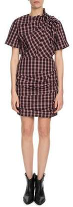 Etoile Isabel Marant Oria Shirred Check-Print Dress