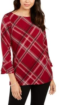 Charter Club Plaid Bell-Sleeve, Created for Macy's