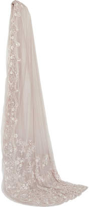 Needle & Thread Marie Embroidered Tulle Veil - Gray