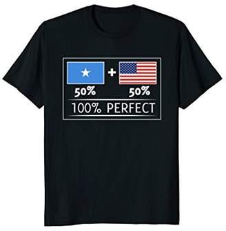 50% Somalia 50% USA Flags 100% Perfect T Shirt for Somali