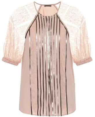 Bottega Veneta Metallic lace top