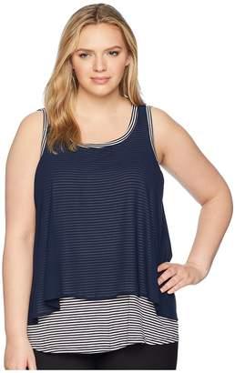 Bobeau B Collection by Plus Size Sydney Stripe Tank Top Women's Sleeveless