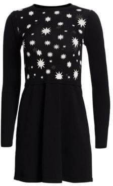 RED Valentino Scattered Star Knit Fit-&-Flare Dress