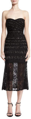 Herve Leger Pailey Strapless Lace Bandage Midi Dress