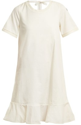 Moncler Round Neck Cotton Jersey Dress - Womens - White
