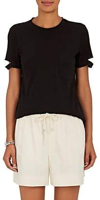 Helmut Lang Women's Slashed-Sleeve Cotton Jersey T-Shirt - Blk