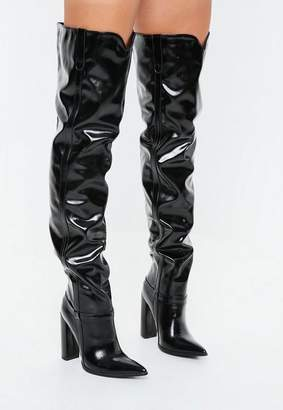 Missguided Black Block Heel Faux Leather Thigh High Boots