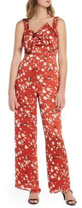 Adelyn Rae Mae Floral Print Wide Leg Jumpsuit