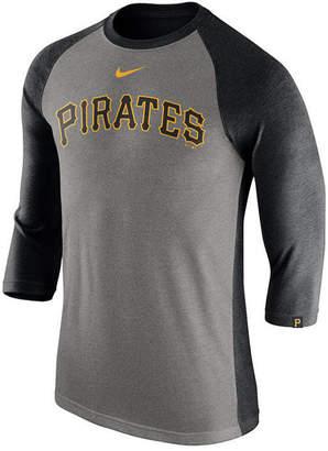 Nike Men's Pittsburgh Pirates Tri-Blend Three-Quarter Raglan T-shirt