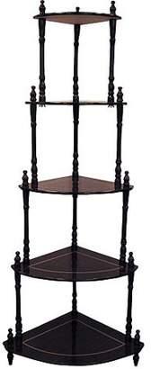 Ore International Traditional Decorative 5 Tier Corner Shelf, Cherry