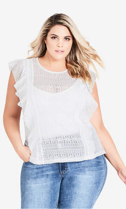 City Chic Ivory Dreamy Lace Top