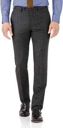 Charles Tyrwhitt Charcoal Stripe Slim Fit Flannel Business Suit Wool Pants Size W32 L38