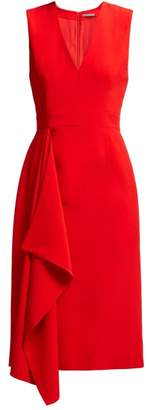 Alexander McQueen Waterfall Draped Crepe Midi Dress - Womens - Red