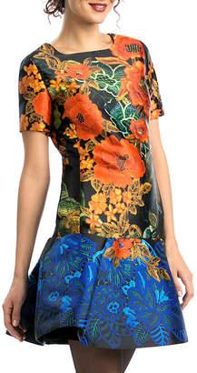 Desigual (デジグアル) - Desigual フラワーパターン タックフレアヘム ドレス ブラック 36