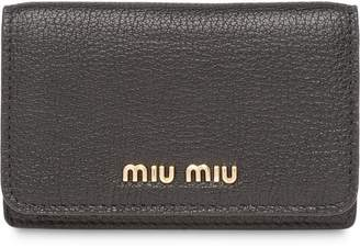 Miu Miu Madras leather business card holder