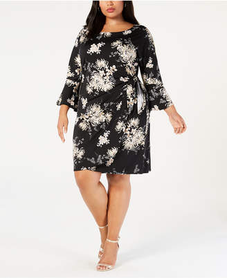 Robbie Bee Plus Size Floral Printed Faux-Wrap Dress