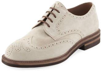 Brunello Cucinelli Suede Brogue Wing-Tip Shoe