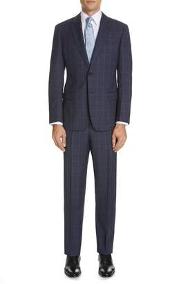Emporio Armani Trim Fit Windowpane Wool Suit